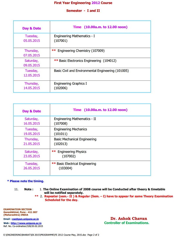 Pune-University-First-Year-Engineering-FE-2008-2012-Pattern-Exam-Timetable-2015