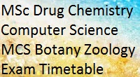 Unipune Pune University MSc Drug Chemistry Computer Science MCS Botany Zoology Exam Timetable May 2015