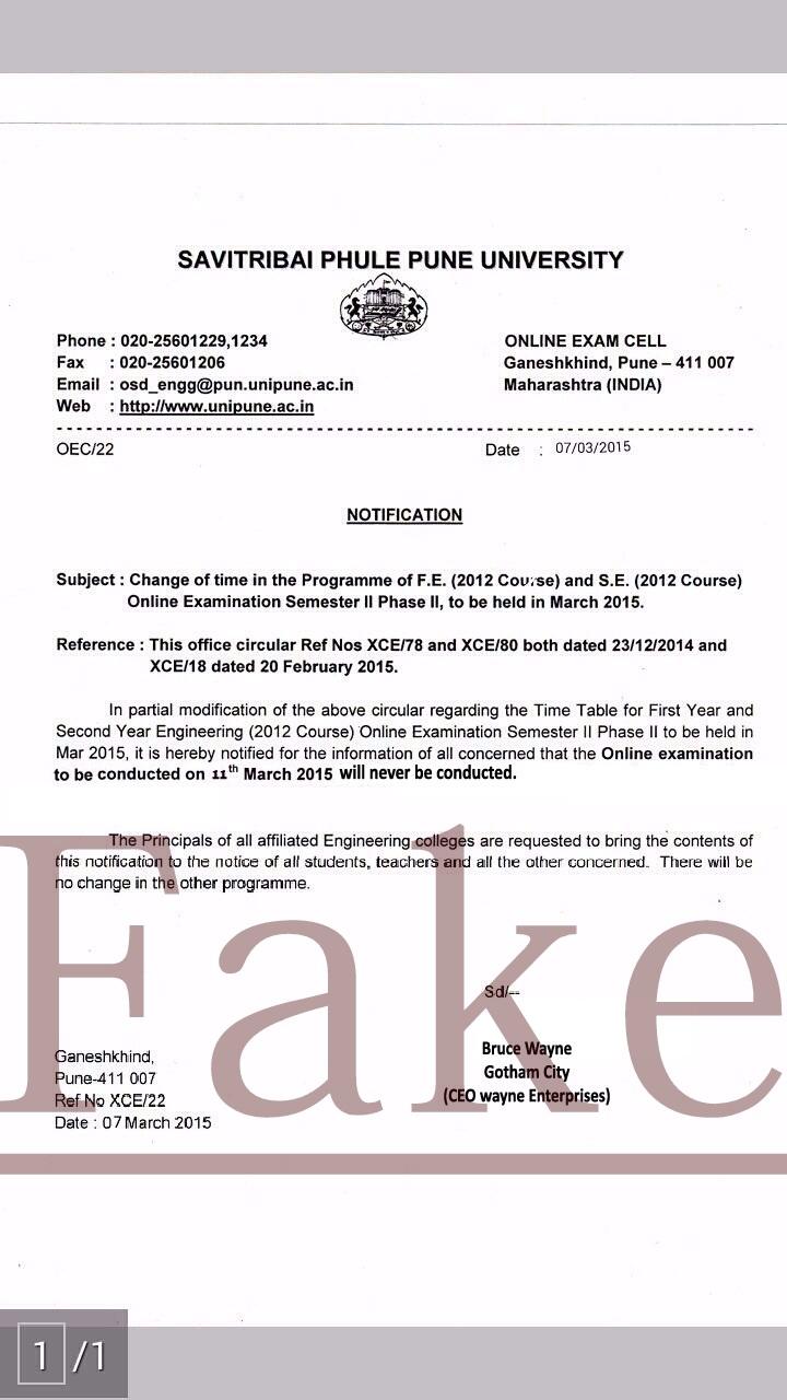 Savitribai-Phule-Pune-University-Engineering-Phase-2-Online-Exam-March-2015-Fake-Real-Dates-Notice