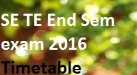 end sem timetable 2016