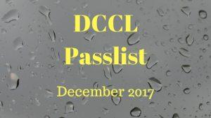 DCCL Passlist December 2017